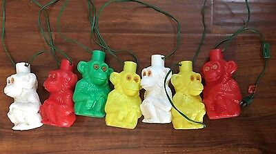 Vintage Noma 7 Blow Mold Monkey 14' String Lights Party Porch Patio Rv Camping