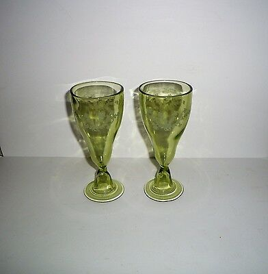 Victorian Acid Etched Chartreuse Glass Stemware