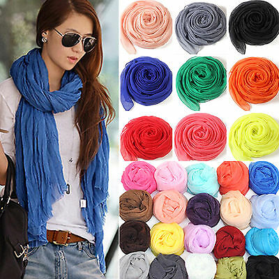 Women Girl Candy Color long soft silk chiffon scarf Wrap Shawl Pashmina Scarves