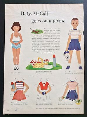 Vintage Betsy McCall Mag. Paper Dolls, Betsy McCall Goes on a Picnic, May 1952
