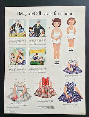 Vintage Betsy McCall Mag. Paper Dolls, Betsy McCall Saves for a Bond, Aug. 1953