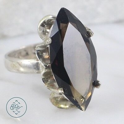 Vintage Sterling Silver | MEXICO Marquise Cut Smoky Quartz 6.1g | Ring (6.75)