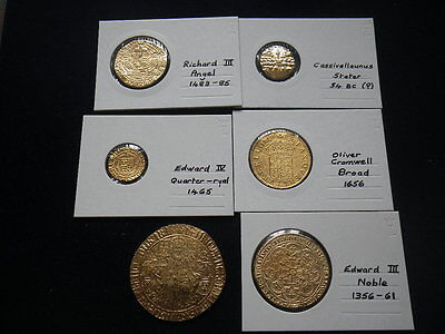 .. Hammered Gold Plated Fantasy Pieces x 11. Stater to George II Guinea