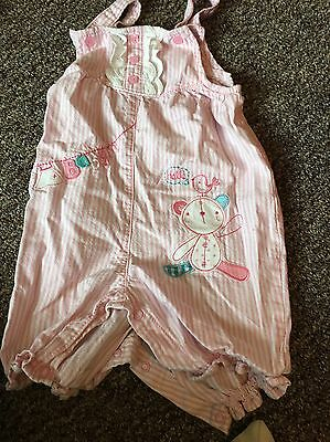 George Pink Candy Stripe Dungarees Age 12-18 Months