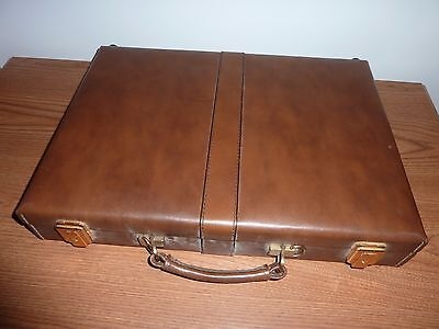 Women's Top Grain Brown Cowhide Leather Hard Briefcase