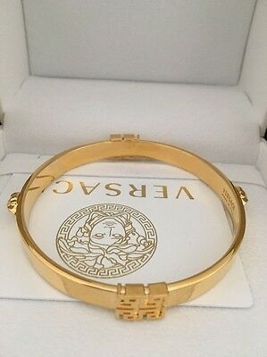 REDUCED ! Versace Bracelet / Cuff Gold Plated / Greek Key / Medusa