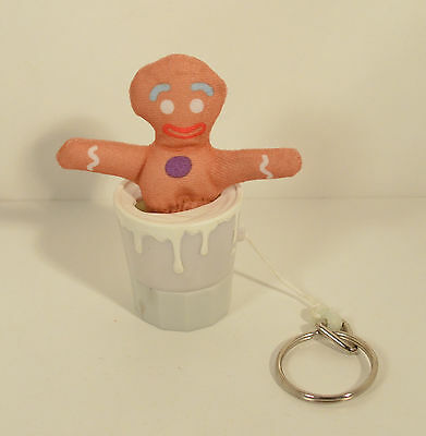 "2001 Gingy Milk Shakin Keychain 4"" Burger King Kids Meal Action Figure #7 Shrek"