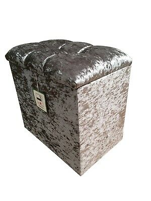 DRESSING TABLE STOOL BOX in a SILVER GLITZ fabric with a CRYSTAL hinge lid