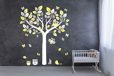 TREE OWLS BIRDS WALL STICKER grey lemon yellow unisex nursery decal art graphic