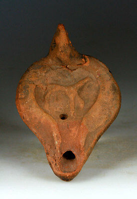 *sc* Roman Pottery Oil Lamp With Dog, Ca. 3Rd. Century Ad.