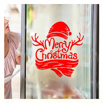 Merry Christmas Xmas Tree Home Decor Shop Window Wall Art Sticker Decal Red