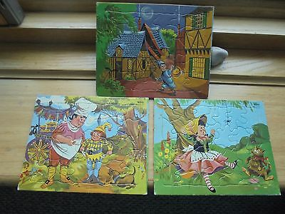 lot  of 3 1965 Sifo 8Z Nursery Rhyme Tray Puzzles made in USA