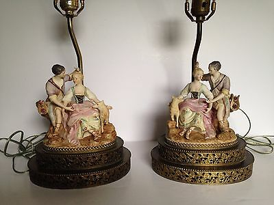 Pair Of Vintage German Painted Porcelain Figural Table Lamps Courting Couple