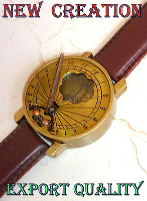 Antique Style Solid Brass Compass Timekeeping Sundial Compass Wrist Watch Style
