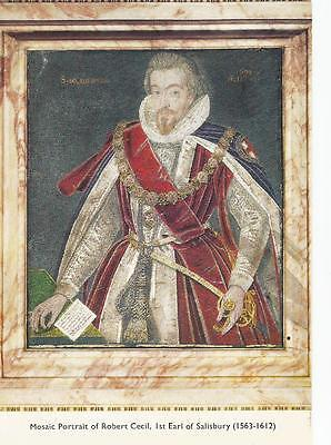 POSTCARD - MOSAIC PORTRAIT OF ROBERT CECIL, 1st EARL OF SALISBURY (1563-1612)