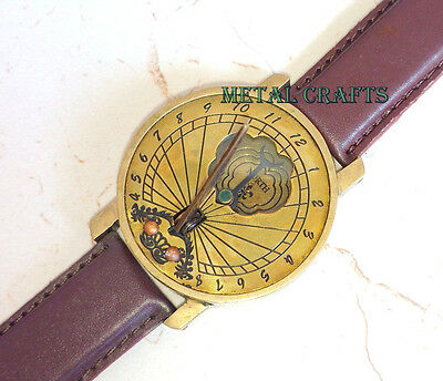 Solid Brass Sundial Compass Wrist Watch Style - Timekeeping Men Women Fashion