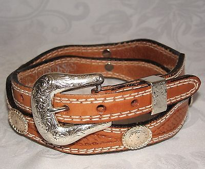 Nocona Brown Leather Concho Belt Tooled Scalloped Edge Womens Size 32