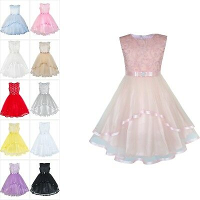 Flower Girls Kids Dress Blush Belted Wedding Party Bridesmaid Princess Size 4-12