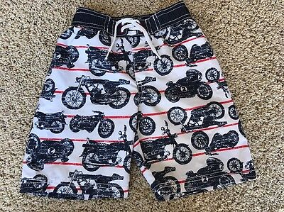 Old Navy Boys Motorcycle Swimming Trunks Swimsuit Navy Blue Red 3T