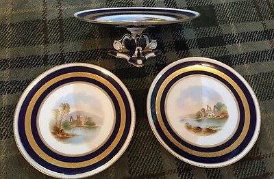 Two Stunning Antique Handpainted Aynsley Plates And Matching Cake Stand