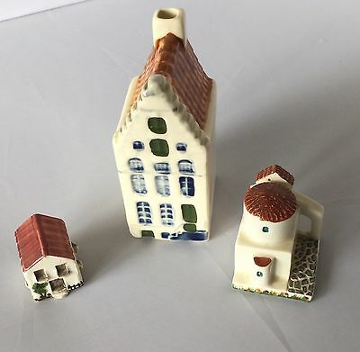 Miniature Pottery Houses X 3 Assorted