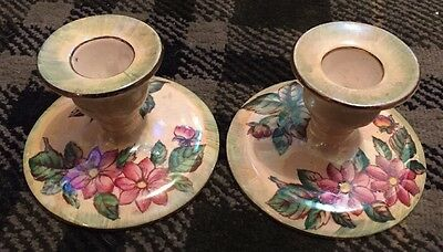 Fabulous Pair Of Maling Lustre Candlesticks- Dahlia Pattern