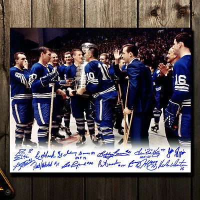 Toronto Maple Leafs 1967 Stanley Cup Celebration Autographed 16x20 Signed by 12