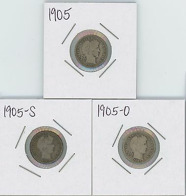 Lot Of 3 Coins, 1905,1905-O & 1905-S Barber Dimes  -- Raw   -  Not Graded --