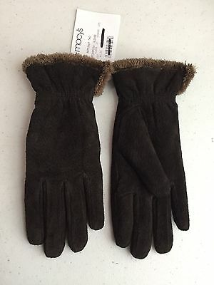 $40 NEW Isotoner Brown Micro Luxe Lined Silky Luxurious Leather Gloves Size Med.