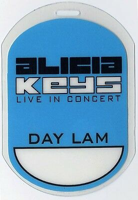 Alicia Keys authentic 2002 concert tour Laminated Backstage Pass Lellow