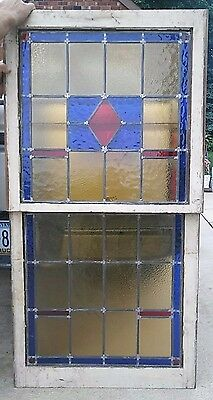 ~ Antique American Stained Glass Window Set ~ Top & Bottom ~ Double Hung ~