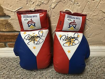 MANNY PACQUIAO SIGNED AUTO PHILIPPINE FLAG BOXING GLOVES PAIR WBC LOA Mayweather