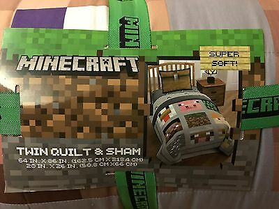 Minecraft Twin Quilt and Sham, brand new