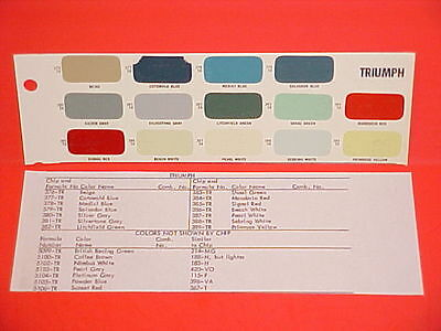 1946-1962 Triumph Tr3A Roadster Coupe Tr2 Tr3 Mayflower 2000 Renoun Paint Chips