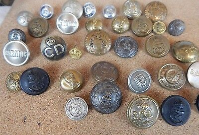 Collection Of 30+ Buttons WW1 ,WW2 , Civil Defence and Transport Joblot