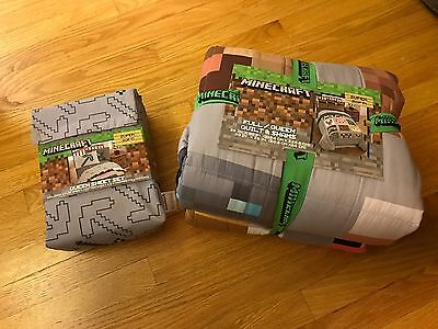 Minecraft Full/Queen Quilt and Shams and Queen Sheet Set , brand new