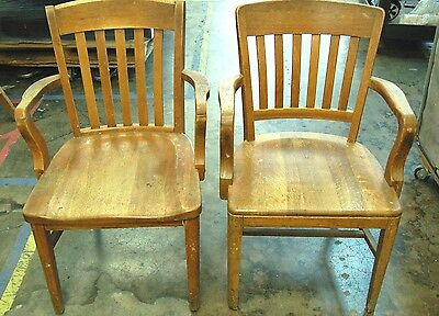 Pair of Antique Vintage Solid Oak Murphy Armchairs