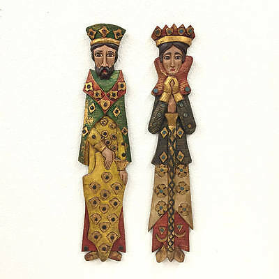 "Folk Art King and Queen Wall Decor Vintage Gothic Colorful Reclaimed Wood 31"" T"