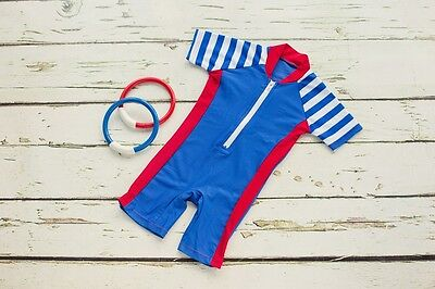 BABY BOYS SUN SUIT all in one UV 50+ protection 0 - 24 Months in royal blue