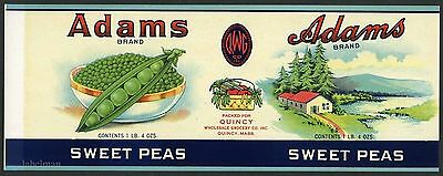 ADAMS Brand, Quincy, Sweet Peas Can Label, *AN ORIGINAL 1920's TIN CAN LABEL*