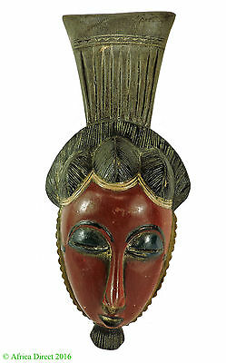 Yaure Portrait Mask with Red Face Ivory Coast African Art SALE WAS $79.00