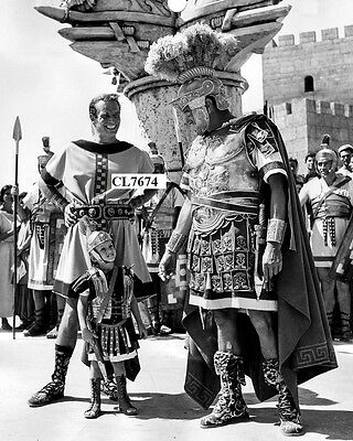 Charlton Heston with His Son Fraser and Jack Hawkins on Movie Set of 'Ben Hur'