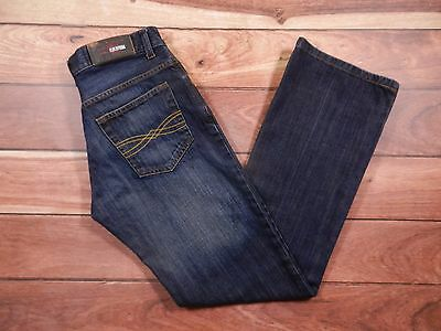 Mens ZARA Jeans Size 32x32 Low Rise Boot Cut Dark Wash Denim Button Fly