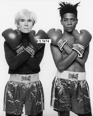 Andy Warhol and Jean Michael Basquiat Pose with Boxing Gloves in New York Photo