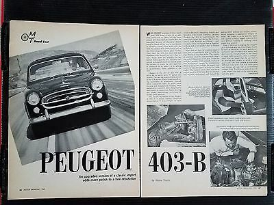 Vintage 1962 Peugeot 403-B - 5 Page Article - Free Shipping