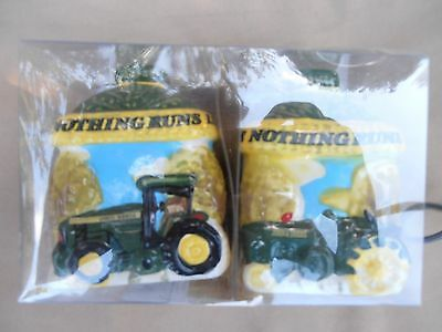John Deere- Nothing Runs Like A Deere- Ceramic Salt & Pepper Shakers/ Set-NEW!
