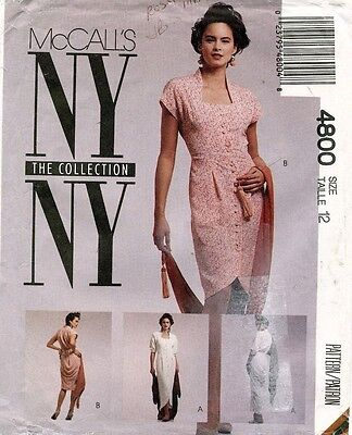 McCall's NY Collection Misses' Dress Pattern 4800 Size 12 UNCUT