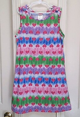 Girl's Tie-Dyed Hearts Summer Nightgown-Size-Large-10/12