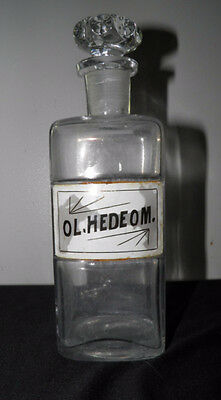 "Vtg Antique Apothecary Bottle Jar Clear Label Under Glass 8.5"" OL.HEDEOM"