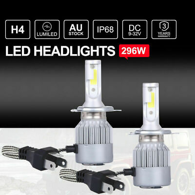 252W Philips H4 LED Headlights Kit High Low Beam Bulbs Globes vs Halogen Xenon